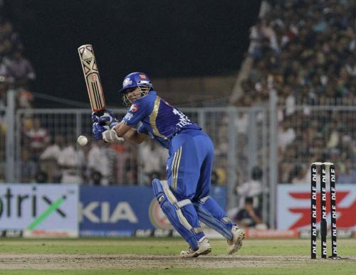 Sachin - Sachin pushes the ball in the gap