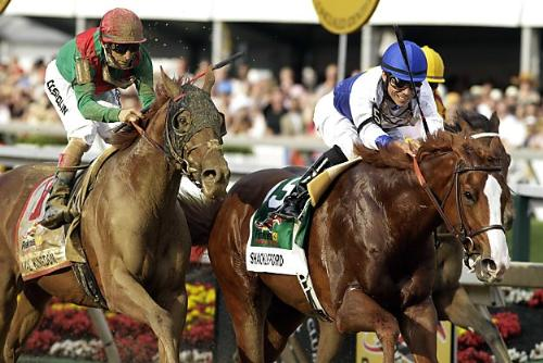 Shackleford winning The Preakness - Shackleford in the lead with Animal Kingdon half a length behind