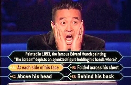 millionaire - an image of a guy playing who wants to be a millionaire for this category