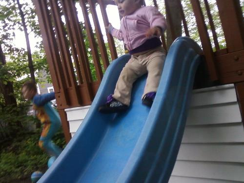 trinity on the slide - this was her first time she loved it
