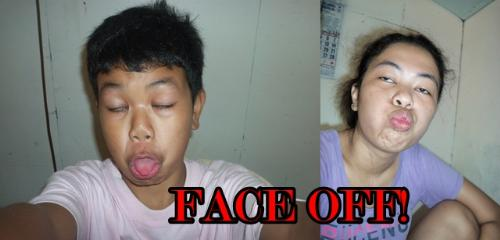 face off!  - Its my younger brother and me. We are just having fun in the camera and doing some wacky faces!!!   Who did it well? You think?