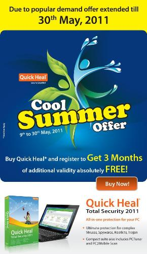 Quick Heal Cool Summer Offer - Quick heal the best antivirus in the world launches new cool summer offer.Get 3 months additional validity absolutely free. interesting offer for limited period. Hurry Up!..............