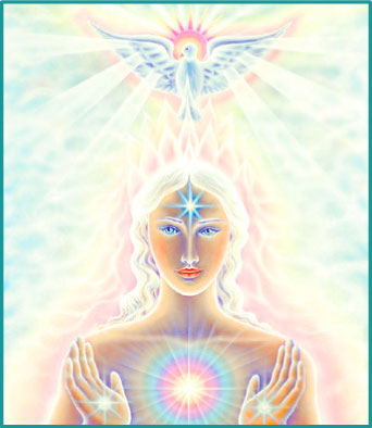 Spiritual Angel Wing - The bird who stands for peace with a sun behind his head The light being holds the Sacred Heart of Love and Light and the 3th Eye wants you to see.