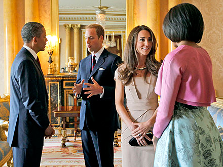 Great Britian visit - The other day The Obama's were in Great Britian. Here they were greeting with the Duke and Duchess of Cambridge.