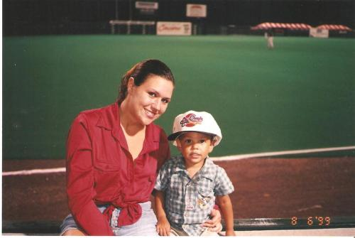 Me and my son.. 1999 - Me and my son at a baseball game in 1999. I'm 19, he's 2.