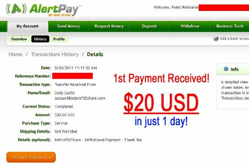 AdProfit2Share First Payment - This is my first payment proof from AdProfit2Share. I've earned $20 USD during program launch last May 23, 2011.