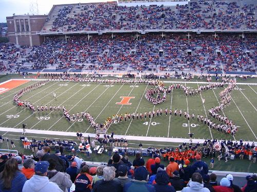Marching band - The Illinois Fighting Illini marching band in the the 'USA' formation.