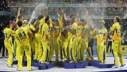 IPL Champions - Chennai Super Kings celebrating their victory against RCB.