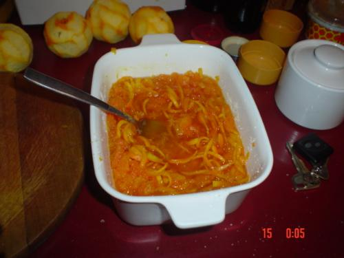 The jam just before cooking - Orange and carrot jam. It´s easy to make a a lot less expensive than orange jam.