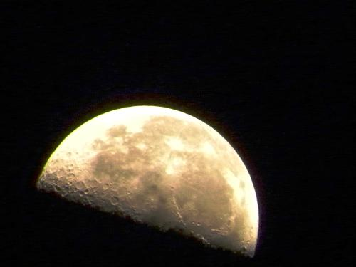 Moon - Moon, rising. Shot with 610mm lens...very heavy and big lens. Telephoto of moon.