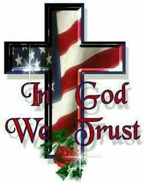 In God We Trust - A red, white, and blue cross reading 'In God We Trust'.