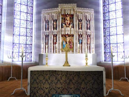 Altar - A picture of an altar on the inside of a church.