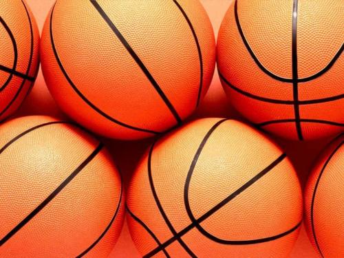 Basketballs - A picture of several basketballs.