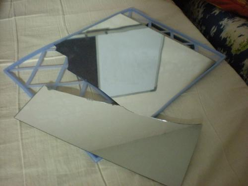 broken mirror - My poor mirror. Any suggestions to turn it into something funny?
