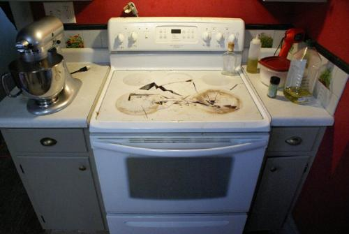 Stove - This is not a good thing to do to a stove when angry!