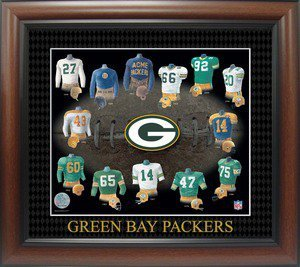 Packers uniforms - A picture of the Green Bay Packers uniforms over the years.