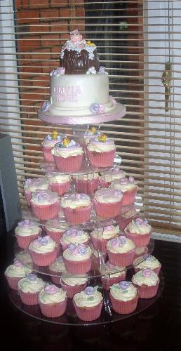 Christening Cake - Christening cake made of cupcakes