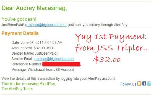 payment received from JSS tripler - yay first payment received from JSS Tripler