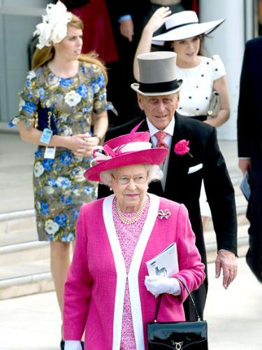 Heading to the races.  - The Queen leads Prince Philip and grand daughter's Princess Beatrice and Princess Eugenie to the races last weekend.