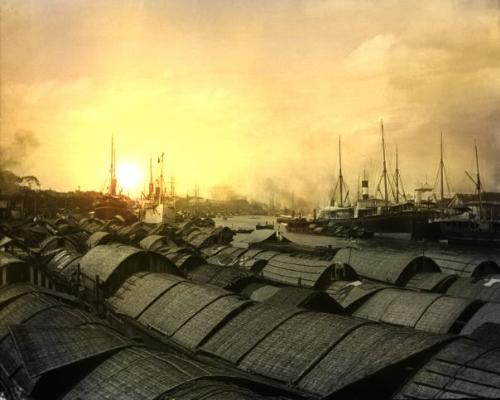 Sunset in our town - Sunset view, shipping vessels.