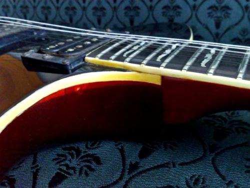 guitar - A guitar body neck connection picture.