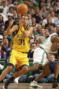 Reggie Miller - MBA great. Spent his whole career with the Indiana Pacers.
