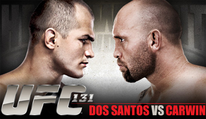 UFC 131 poster - This is the ufc 131 poster featuring Junior Dos Santos and Shane Carwin, as presented on the poster with both their images.