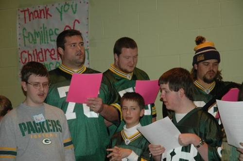 Christmas Party - Every year some of the Green Bay Packers attend a christmas party for kids who have survived cancer!
