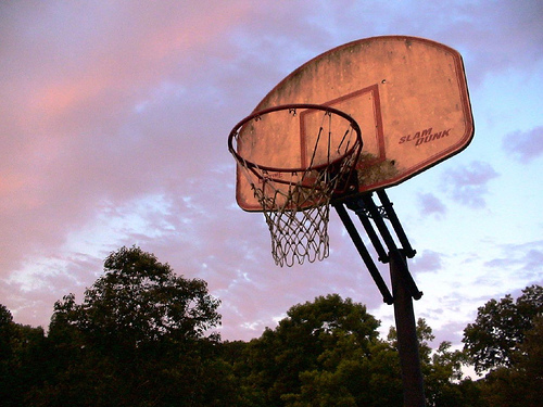A basketball goal - A basketball goal you would find in most parks.