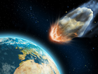 Asteroid hitting earth - An artist's impression of an asteroid hitting earth.