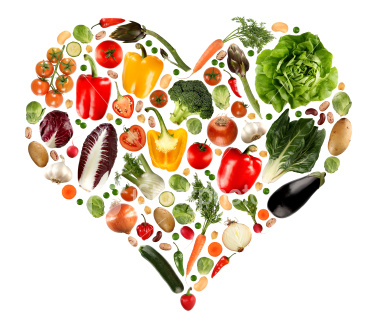 healthy living - an arrangement of vegetables shaped like a heart for this category