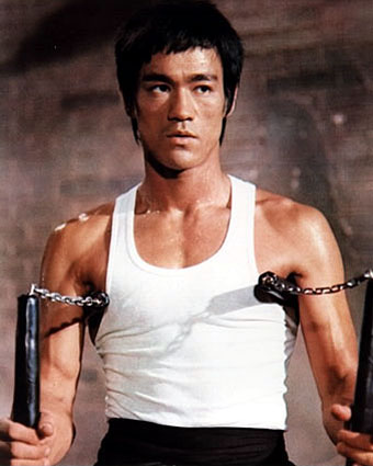Bruce Lee - Bruce Lee in action in the movie 'Enter the Dragon'.