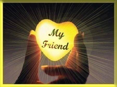 My Friend - A golden heart with the phrase 'My friend' written in.