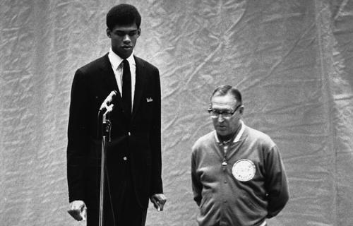 Lew Alcinder - This is Lew Alcinder when he played at UCLA under John Wooden. Of course Alcinder became Kareem Abdul-Jabbar.