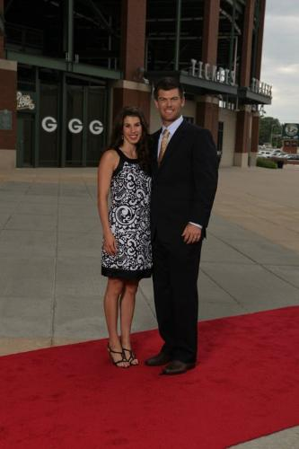 The Packers kicker - Green Bay Packer kicker Mason Crosby and his wife.