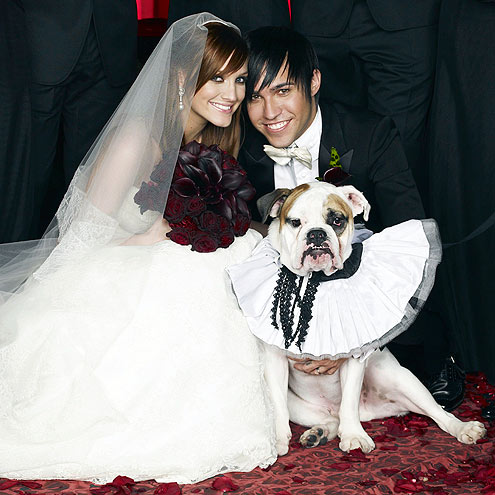 Ashlee Simpson - Two years ago Jessica's sister got married. I feel sorry for the bulldog and the outfit it had to wear!