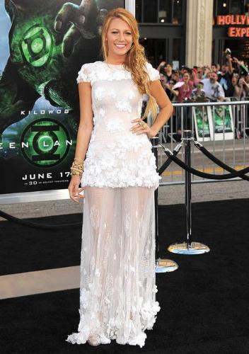 Blake Lively - I thought the dress was nice when I saw it on tv. When I saw it closer I didn't like it! It does look like a shower curtain!