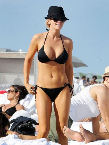 Jenny McCarthy - She is looking good in a bikini! She can ditch the hat,though!