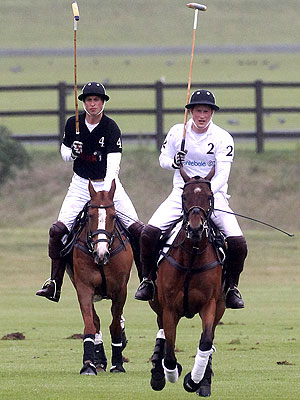 Polo Match - Here is a photo of prince Harry and Prince William playing against each other in a charity polo match.