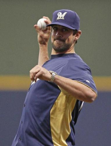 First pitch - In a recent home game at Miller Park,Aaron Rodgers threw out the first pitch! He did a good job!