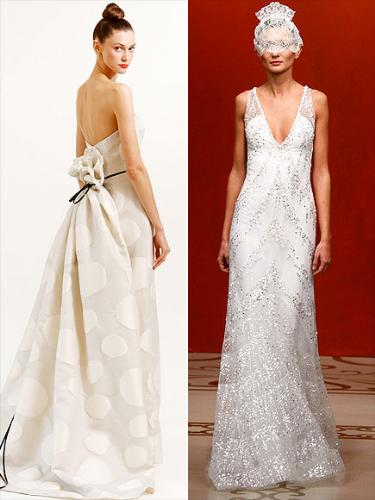 Wedding gowns - I like the one on the left but I do not like the veil on the right dress!