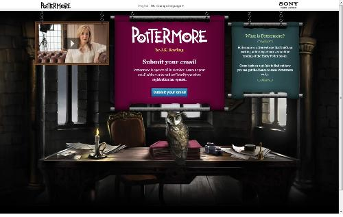 Pottermore - A screenshot from the NEW homepage of the Pottermore website, with an explanation of what Pottermore is all about.