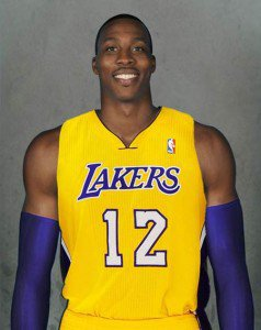 Dwight Howards already a Laker? - This is a photo of Dwight Howard in a Lakers uniform.