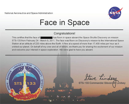 NASA face in space - My certification of face in space from NASA