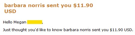 money - a recent payment I received from dealbarbiepays!