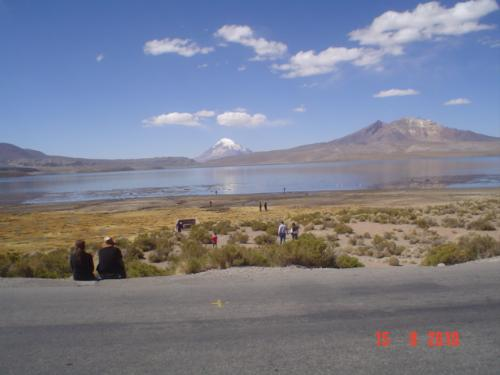 The altiplano - This lake, Lago Chungará, is 4.500 meters above sea level. The volcano, the Parinacota, is the highest in Chile.