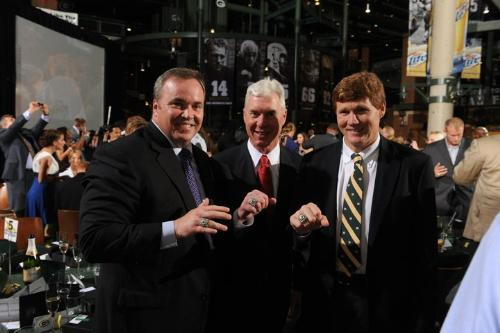 Ya Baby! - Grren Bay Packer head coach Mike McCarthy,Packer GM Ted Thompson and Packer CEO Mark Murphy showing off their Super bowl rings!