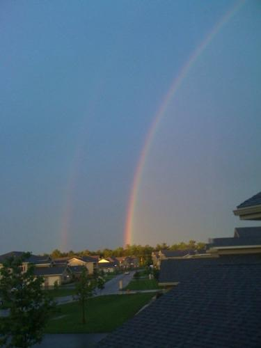 Rainbows - The one of the right is in full color. If you look closely you can see a second one the left! That's awesome!