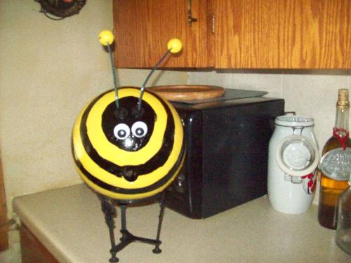 Bee garden ornament - Bee ornament made from my mother's bowling ball!