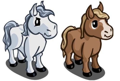 Mini horses - Some of the animals you can get on Farmville,which I play.